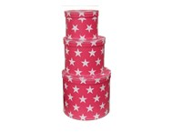 Round box pink with white stars 3-set