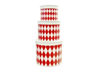 Round box white with red rhomb 3-set