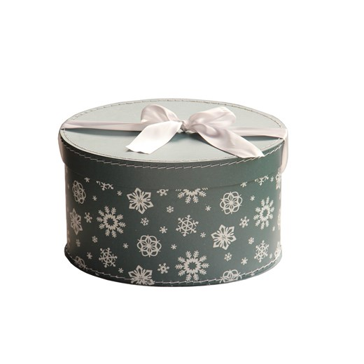 Oval Christmas box 33cm blue-green with flakes