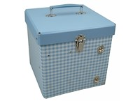 Box with inside shelves 21cm blue with white squares