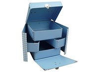 Box with inside shelves 16cm blue with white squares