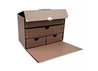 Box with inside shelves 28cm brown