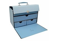 Box with inside shelves 28cm blue with white squares