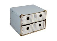 Drawer box 25cm blue with white squares