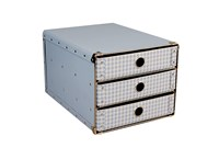 Drawer box A4 blue with white squares