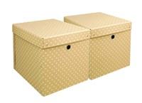 Storage box natural with dots 2-set