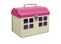 Children´s suitcase house with pink roof  22cm