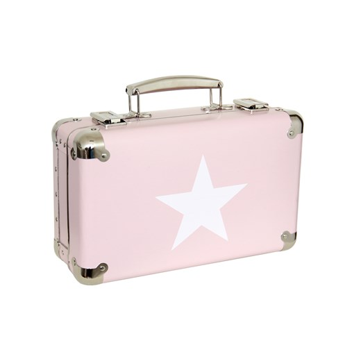 Riveted suitcase 30cm pink with white star