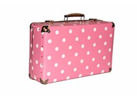 Riveted suitcase 51cm pink with dots