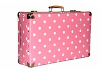 Riveted suitcase 60cm pink with dots
