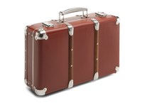 Riveted suitcase 40cm red-brown