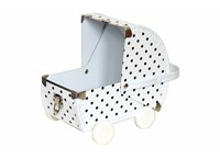 Baby pram 22cm white with black dots