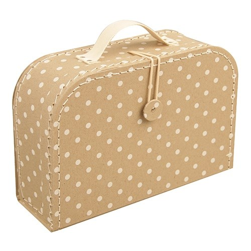 Children's suitcase 30cm natural with dots