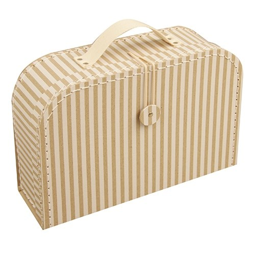 Children's suitcase 30cm natural with stripes