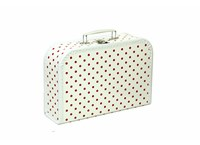 Children´s suitcase 20cm white with red dots