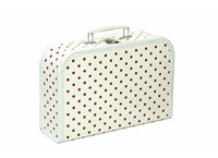 Children´s suitcase 25cm white with red dots