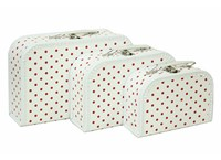 Children´s suitcase white with red dots 3-set