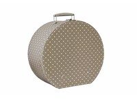 Hat box 40cm natural with dots