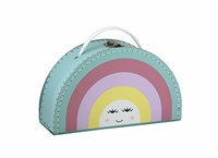 Children´s suitcase 24cm rainbow colour with face
