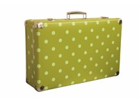 Riveted suitcase 60cm green with dots