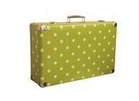 Riveted suitcase 51cm green with dots