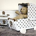 Children´s suitcase baby pram 22cm white with black dots