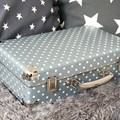 Riveted suitcase 40cm silver with dots