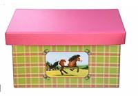 Storage box 41cm horse pink