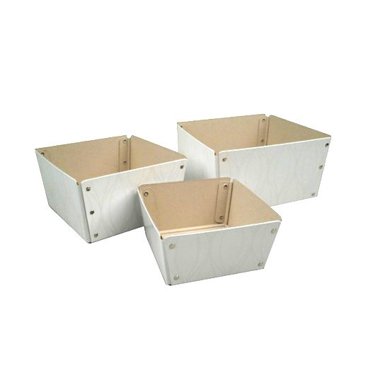Conical box white with ripples 3-set