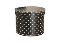 Round box 25cm black with white dots