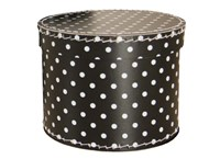 Round box 30cm black with white dots