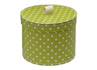 Round box 30cm green with white dots