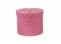 Round box 20cm pink with white dots