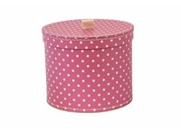 Round box 25cm pink with white dots